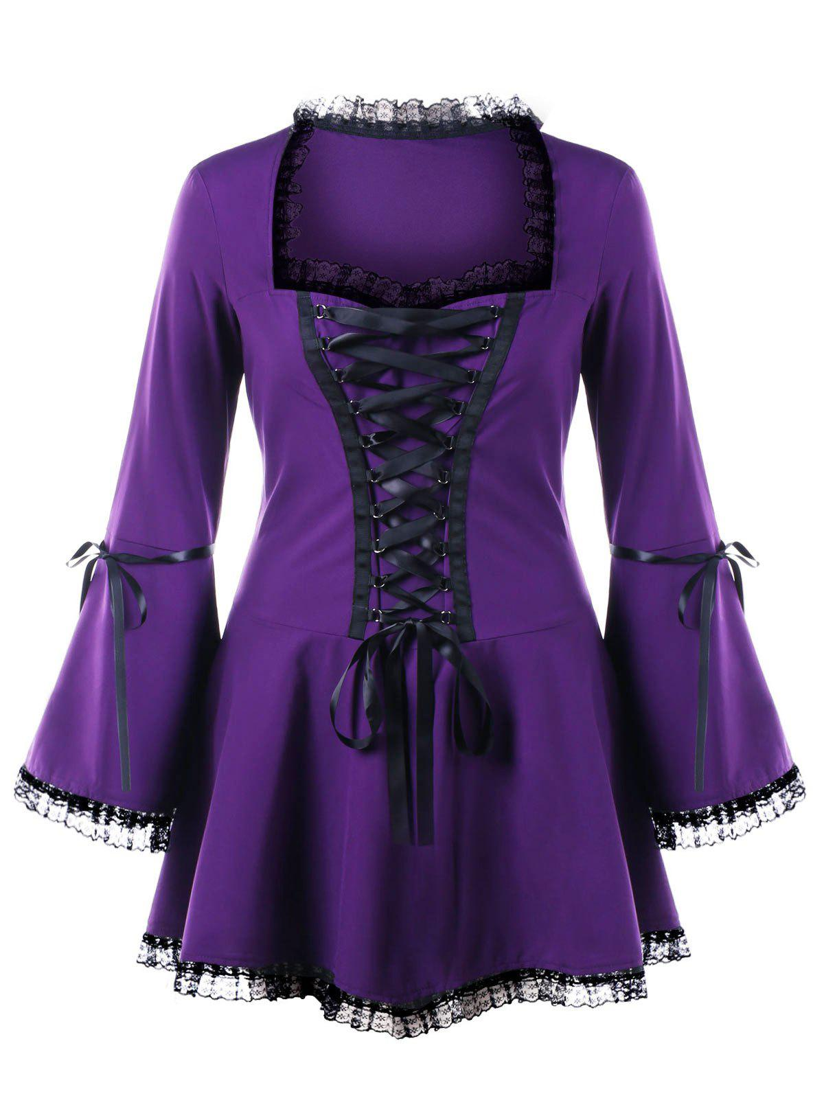 Halloween Plus Size Flare Sleeve Lace Up TopWOMEN<br><br>Size: 3XL; Color: PURPLE; Material: Polyester; Shirt Length: Long; Sleeve Length: Full; Collar: Sweetheart Neck; Style: Gothic; Season: Fall,Spring; Embellishment: Lace; Pattern Type: Solid; Weight: 0.3000kg; Package Contents: 1 x Top;