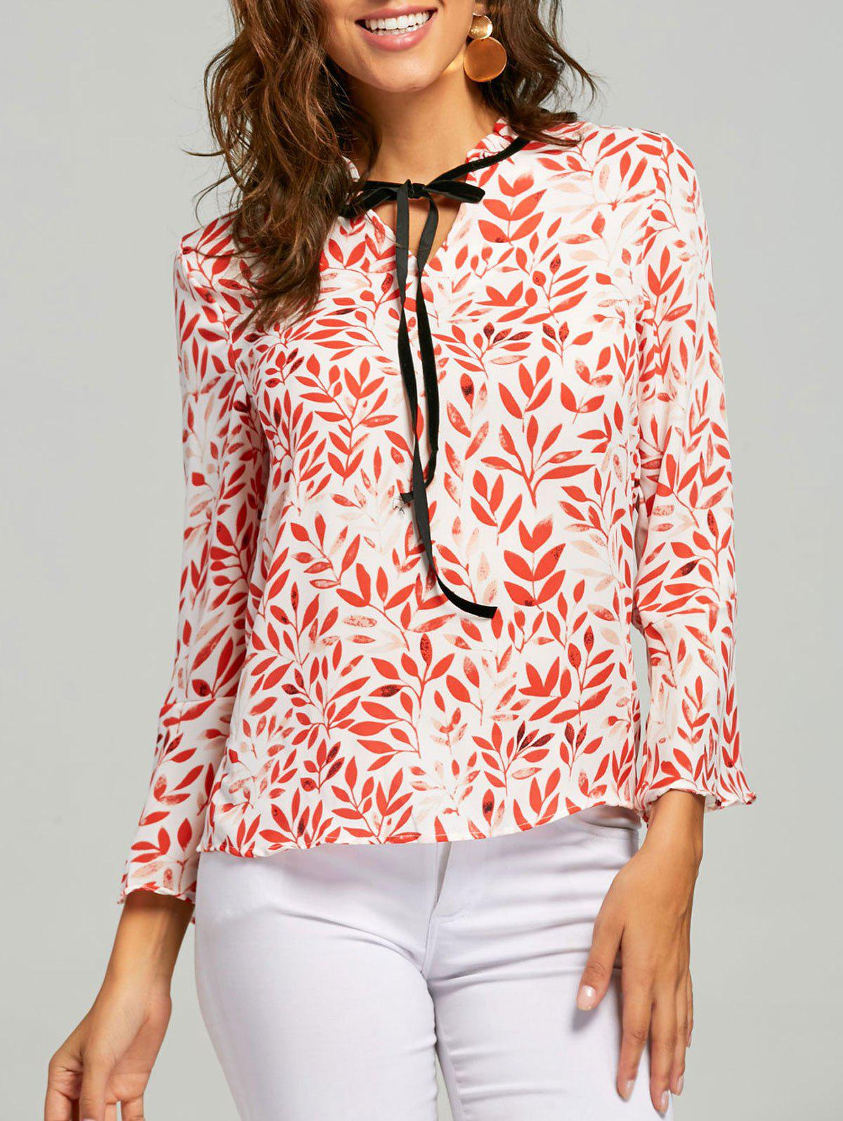 Best Mock Neck Self Tie Leaf Print Blouse