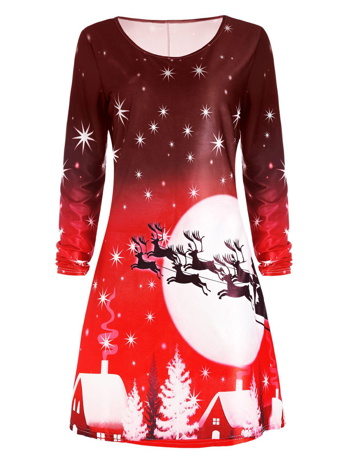 Christmas Deer Long Sleeve Tee Skater DressWOMEN<br><br>Size: XL; Color: RED; Style: Casual; Material: Polyester; Silhouette: A-Line; Dresses Length: Knee-Length; Neckline: Round Collar; Sleeve Length: Long Sleeves; Pattern Type: Animal,Character,Print,Star; With Belt: No; Season: Fall; Weight: 0.2300kg; Package Contents: 1 x Dress; Occasion: Casual;