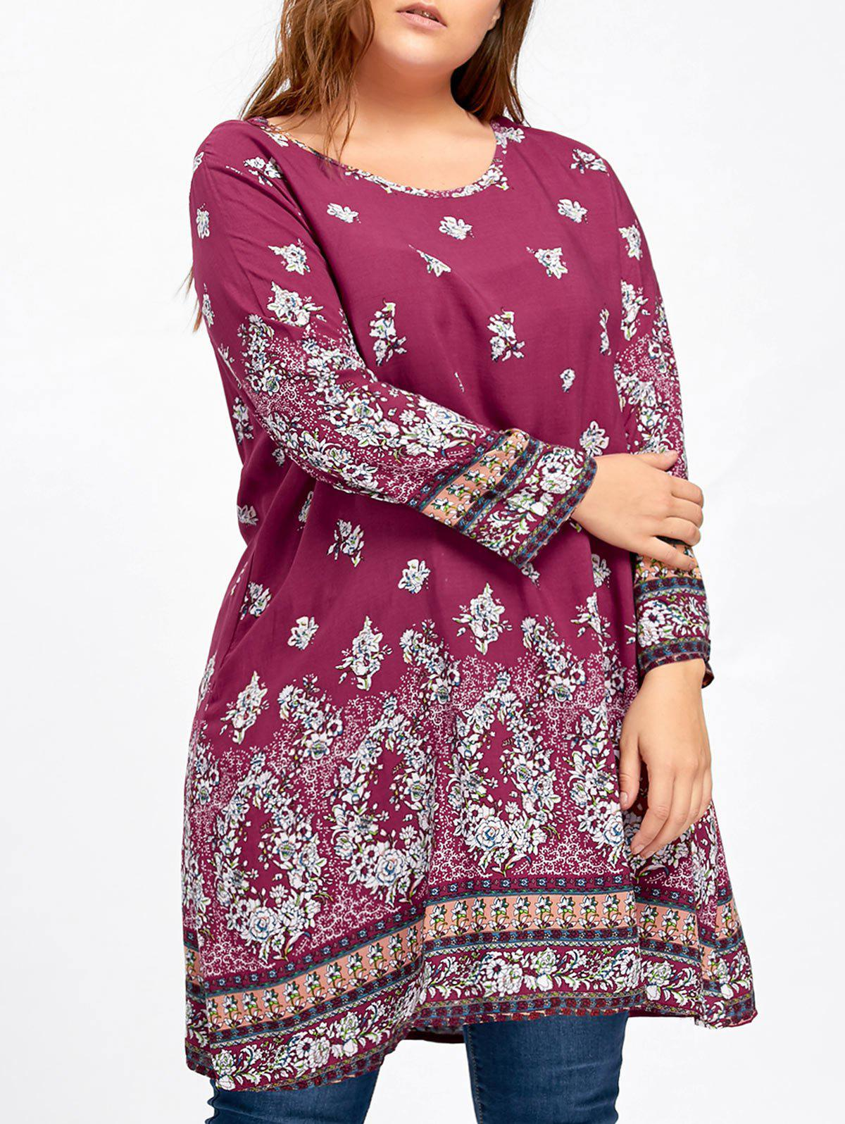 Plus Size Longline Floral Print BlouseWOMEN<br><br>Size: 5XL; Color: ROSE RED; Material: Polyester; Shirt Length: Long; Sleeve Length: Full; Collar: Round Neck; Style: Casual; Season: Fall,Spring; Pattern Type: Floral; Weight: 0.2150kg; Package Contents: 1 x Blouse;