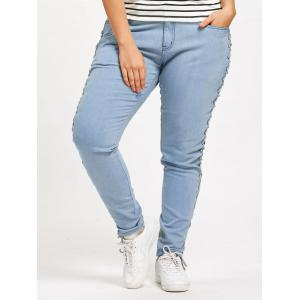 Plus Size Criss Cross Fitted Jeans - CLOUDY 3XL