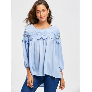 Lace Insert Scoop Neck High Low Blouse -
