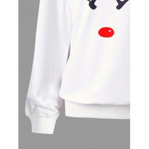 Plus Size Christmas Reindeer Skew Collar Sweatshirt -