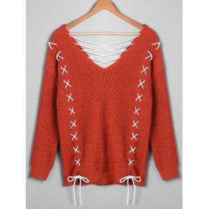 Plus Size Plunging Neck Lace Up Sweater -