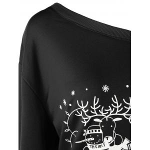 Plus Size Christmas Skew Collar Sweatshirt - BLACK XL