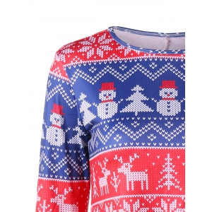 Christmas Tree Snowman Snowflake Long Sleeve Dress -