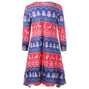 Christmas Tree Snowman Snowflake Long Sleeve Dress - COLORMIX L