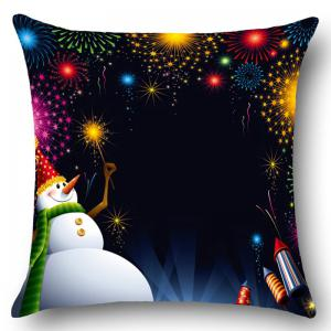 Snowman Fireworks Patterned Throw Pillow Case - BLACK W18 INCH * L18 INCH