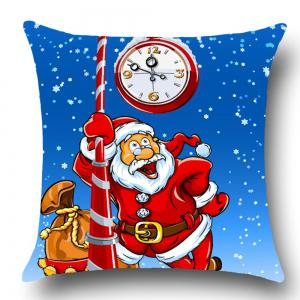 Home Decor Santa Claus Printed Throw Pillow Case - BLUE AND RED W18 INCH * L18 INCH