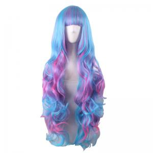 Long Full Bang Fluffy Wavy Colormix Cosplay Lolita Perruque synthétique - Multicolore