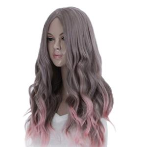 Long Middle Part Wavy Synthetic Ombre Cosplay Wig - COLORMIX