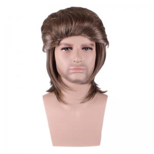 Layered Medium Straight Cosplay Synthetic Man Wig - BROWN