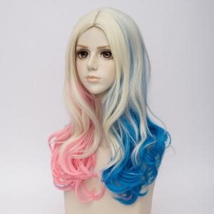Long Middle Part Colormix Curly Synthetic Suicide Squad Harley Quinn Cosplay Wig -