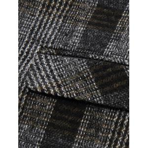 Lapel Tartan Double Breasted Woolen Blazer -