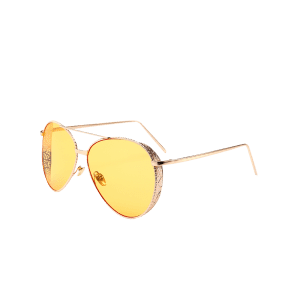 Vintage Metal Frame Carved Pilot Sunglasses - LIGHT YELLOW