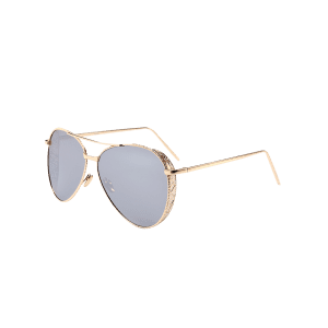 Vintage Metal Frame Carved Pilot Sunglasses -