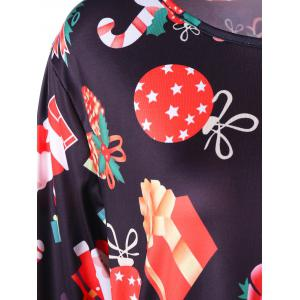Gift Print Plus Size Christmas Mini Dress -