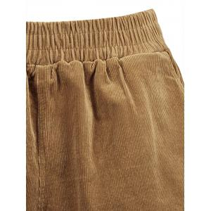 Plus Size Corduroy Shorts with Pocket - DARK CAMEL 4XL