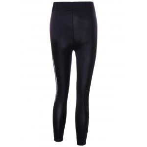 Mesh Insert Skinny Leggings - BLACK L