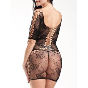 Lingerie Mini Fishnet Openwork Dress -