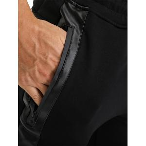 PU Leather Edging Zip Pockets Jogger Pants - BLACK L
