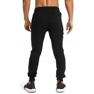 PU Leather Edging Zip Pockets Jogger Pants - BLACK 2XL