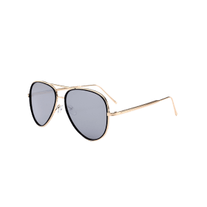 Vintage Golden Metal Frame Crossbar Sunglasses - SILVER