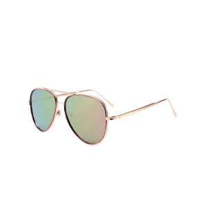 Vintage Golden Metal Frame Crossbar Sunglasses - PINKISH PURPLE