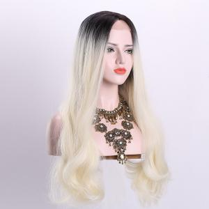 Long Middle Part Wavy Ombre Synthetic Lace Front Wig - OFF-WHITE