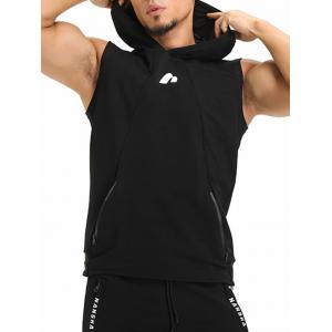 Zip Pockets Openwork Panel Vest - BLACK L