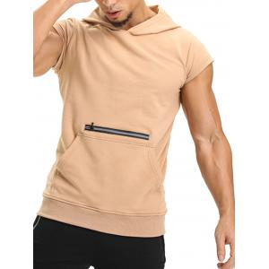 Zipper Hooded Pouch Pocket Vest - KHAKI M