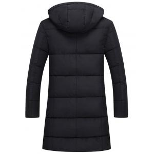 Zip Up Hooded Quilted Long Coat - Noir 3XL