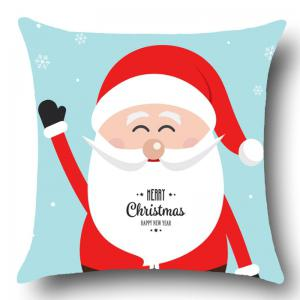 Smiling Santa Claus Printed Throw Pillow Case -