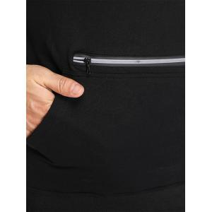 Zipper Hooded Pouch Pocket Vest - BLACK M
