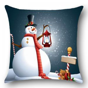 Chrismas Snowman Print Throw Pillow Cover - COLORFUL W18 INCH * L18 INCH