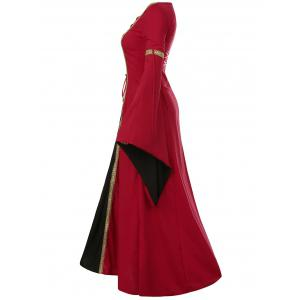 Bell Sleeve Long Queen Costume Dress - RED S
