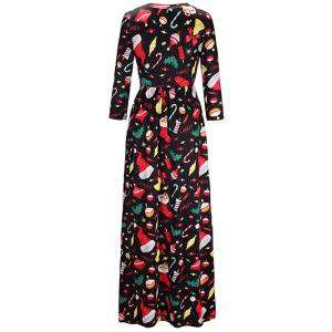 Maxi Christmas Gifts Print Dress - COLORMIX S