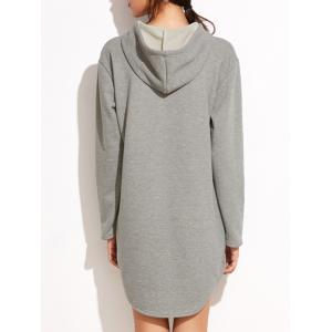 Long Sleeve Hoodie Dress with Front Pocket - GRAY S