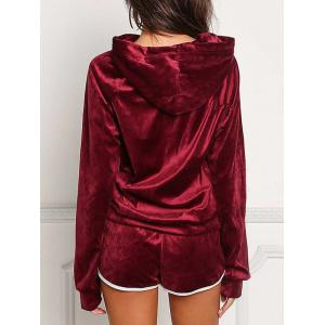 Front Pocket Hoodie with Shorts - WINE RED M