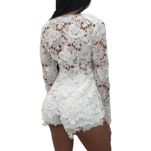 Plunging Neck Floral Insert Lace Romper - WHITE L