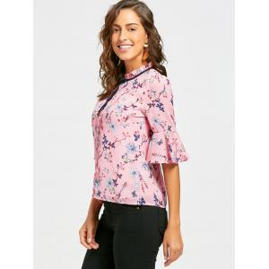 Floral Ruffle Neck Self Tie Blouse - PINK S