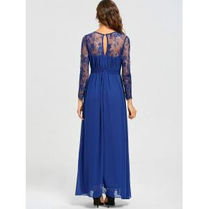 V-neck Long Lace Sleeve Floor Length Dress -