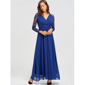 V-neck Long Lace Sleeve Floor Length Dress - BLUE L
