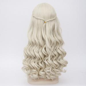 Long Middle Part Wavy Alice au pays des merveilles White Queen Cosplay perruque synthétique -
