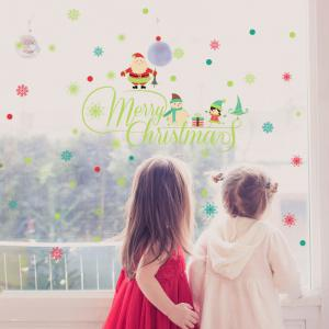 Merry Christmas Pattern Glow In The Dark Wall Art Stickers -