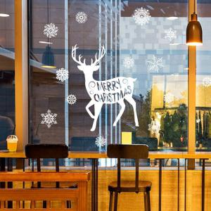 Noël Deer Snoaflakes Decorative Pattern Stickers Art Art - Blanc 45*60CM