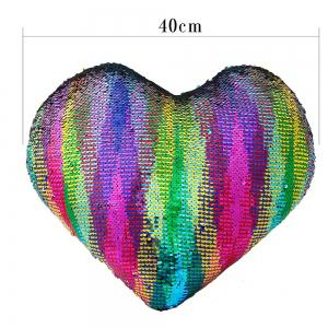 Reversible Sequin Mermaid Heart Shaped Sofa Pillow - COLORFUL
