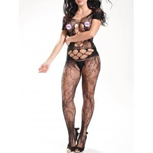 Fishnet Short Sleeve Sheer Bodystockings - BLACK ONE SIZE