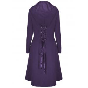 Hooded Plus Size High Low Lace Up Coat - PURPLE 5XL