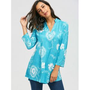 Bohemian Print V Neck Blouse - BLUE XL